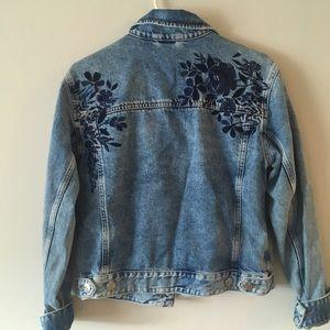 Embroidered stone wash denim jacket